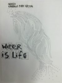 Ink sketch of a graphic and text